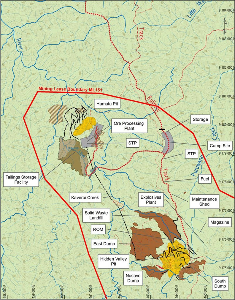 Figure 5: Detailed site plan of the Hidden Valley Au-Ag mine (SMEC, 2010a)