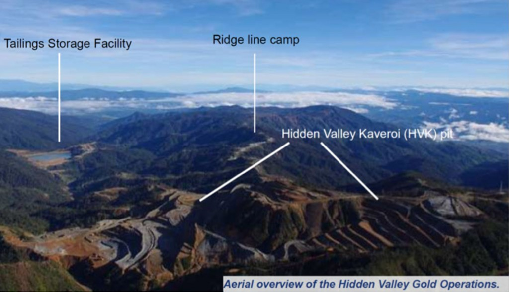 Figure 7: Hidden Valley Au-Ag mine, Papua New Guinea, showing the Hidden Valley pit (front) looking towards the tailings storage facility (centre left) (MMJV, 2011).