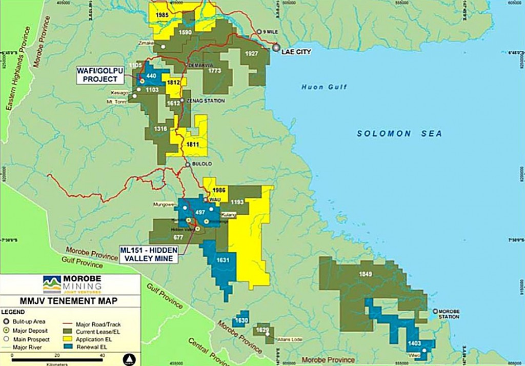 Figure 8: Morobe Mining Joint Venture exploration and mining licences (Palaulo, 2012).